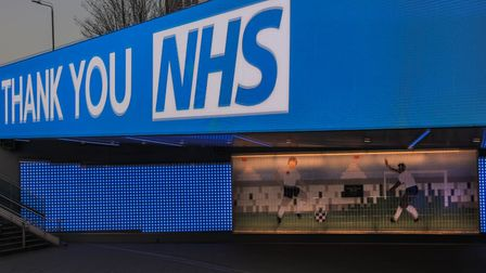 Wembley Parks Bobby Moore Bridge illuminated with a Thank You NHS sign. Picture: Amanda Rose