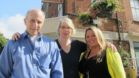 Danny Michelson, from La Fromagerie Cheese Shop, Councillor Julie Horten, and Annie Loustav from To