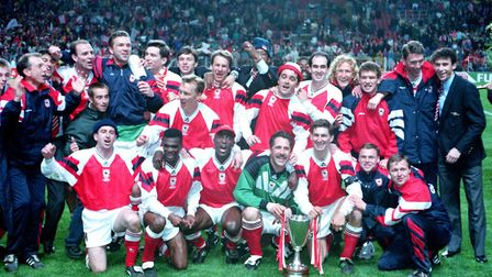 Arsenal celebrate beating holders Parma 1-0 to lift the 1994 Cup Winners Cup in Copenhagen (pic Joh