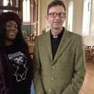 Artist Hadina Wright, due to paint murals to mark VE Day, and Rev David Ackerman, vicar of St John t
