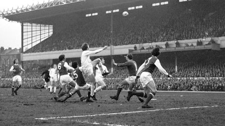 Frantic activity in the Arsenal goalmouth as Anderlecht attack. Arsenal goalkeeper Bob Wilson tries