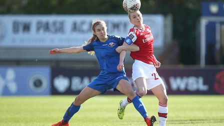 Leonie Maier of Arsenal and Katie Rood of Lewes during Arsenal Women vs Lewes FC Women, Women's FA C
