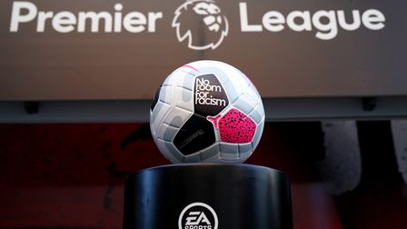 Detail of the No Room for Racism logo on the matchday ball ahead of a Premier League match