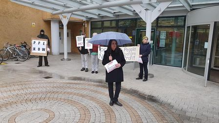 Minutes silence for Covid-19 deaths outside Whittington Hospital. Picture: Paddy Nielsen