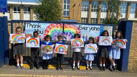 Children from Uxendon Manor Primary School say thank you to all key workers. Picture: Jashu Vekaria