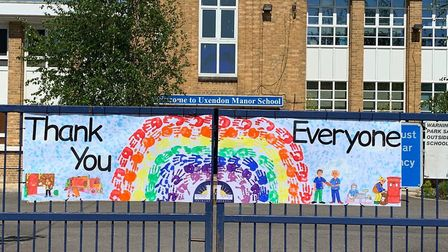 Uxendon Manor Primary School staff and pupils say thank you to NHS and key workers during lockdown.