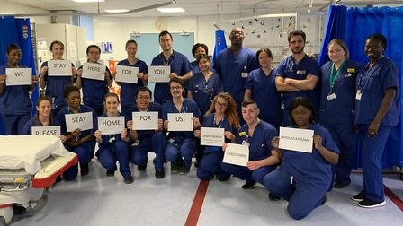 Doctors and nurses from the Whittington's A&E department ask people to stay at home. Picture: Anna S