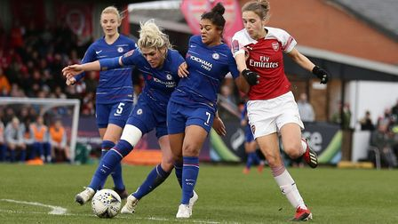 Millie Bright of Chelsea clears from Vivianne Miedema of Arsenal (pic Gavin Ellis/TGS Photo)