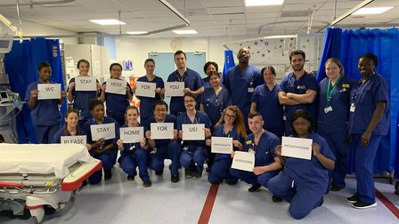 Medics from Whittington Health NHS Trust ask people to stay at home. Picture: @ana2pink