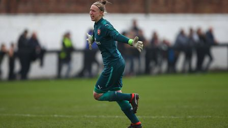 Arsenal Women's Sari van Veenendaal celebrates after Louise Quinn scores her side's second goal of t