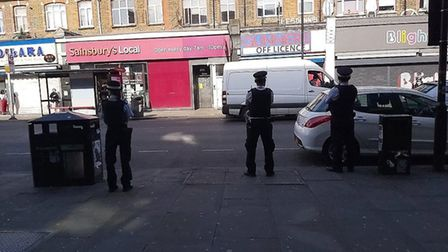 Officers in Blackstock Road to enforce social distancing. Picture: Islington Council