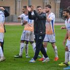 Dean Brennan and his Wealdstone side celebrate victory over Chelmsford this season. Picture: Adam Wi