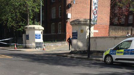 Police at the scene outside Pentonville prison. Picture: Supplied