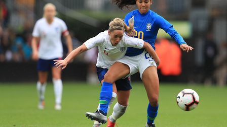 Arsenal's Jordan Nobbs in action for England women against Brazil's Raquel at Meadow Lane (pic Mike