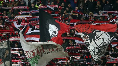 Bayer Leverkusen fans during the UEFA Europa League round of 16 match at Ibrox Stadium