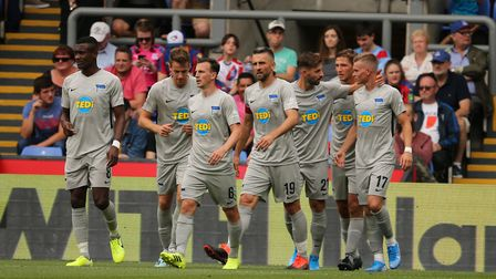 Hertha Berlin players celebrate after a goal in pre-season at Crystal Palace