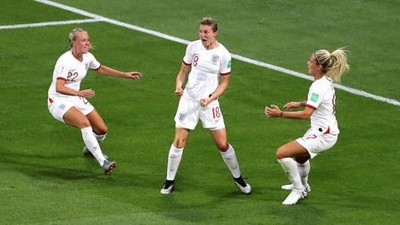 Arsenal's Beth Mead (left) celebrate with England goalscorer Ellen White (centre) during the FIFA Wo