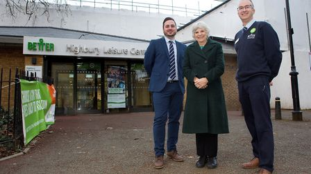 Highbury Leisure Centre_Exterior: (Left to right) Tyron Fuller, Partnership Manager, GLL; Cllr Janet