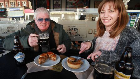 Paul and Nicky Campbell, from Piebury Corner, enjoy the new pies made with special edition Guinnesse
