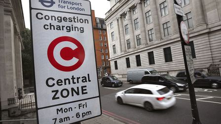 A congestion charge sign in London.