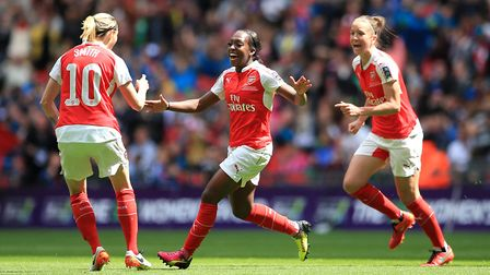 Arsenal's Danielle Carter (centre) celebrates scoring her side's winning goal during the 2016 SSE Wo
