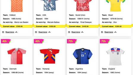 Research by casumo has found the most valuable vintage international football shirts