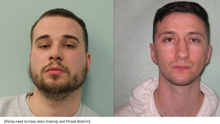 Police need to trace Jeton Krasniqi and Mirsad Brahimi. Picture: Met Police