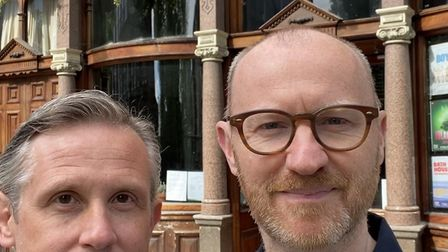 Actors Ian Hallard and Mark Gatiss are outside the King's Head Theatre which they are supporting in