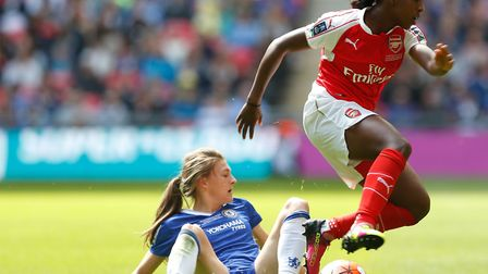 Chelsea's Hannah Blundell (left) challenges Arsenal goalscorer Danielle Carter in the Women's FA Cup
