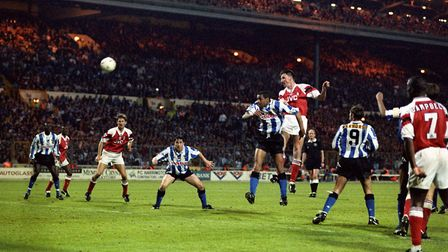 Andy Linighan climbs to head his dramatic winner for Arsenal in the 1993 FA Cup final against Sheffi