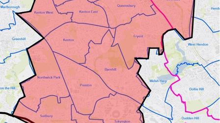 Areas in Brent covered by a Section 60 order. Picture: @MPSBrent