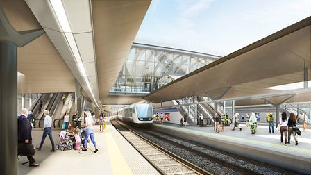 Visual of railway platform at Old Oak Common. Picture: HS2