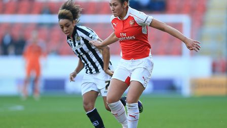 Arsenal Ladies' Jade Bailey (right) and Notts County Ladies' Jess Clarke battle for the ball during