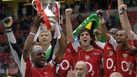 Arsenal captain Patrick Vieira lifts the FA Cup after defeating Manchester United in the 2005 final
