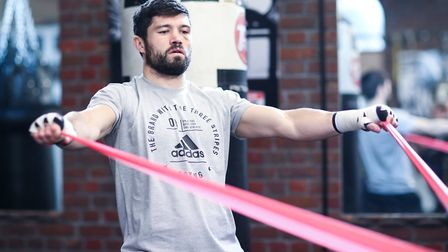 John Ryder media Workout, Matchrrom Boxing Gym, Essex. 7th November 2019 Picture By Mark Robinson.