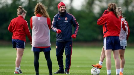 Arsenal Women manager Joe Montemurro during the training session at London Colney. Picture: Tess Der