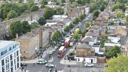 An aerial view of police in Southgate Road on May 27. Picture: Samir Jeraj