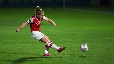 Arsenal's Kim Little scores a penalty during the UEFA Women's Champions League match at Meadow Park,