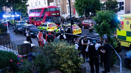 """The emergency services on the scene of a """"domestic incident"""" in Southgate Road. Picture: Joshua Thur"""