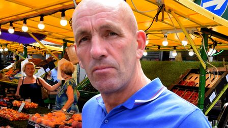 Chair of the Chapel Market Traders Association David Twydell, next to his fruit and veg stall. Pictu
