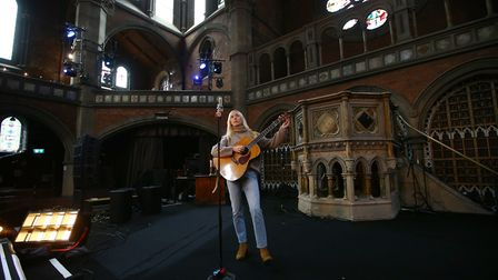 British singer songwriter Laura Marling performs at the Union Chapel in north London, Saturday, June
