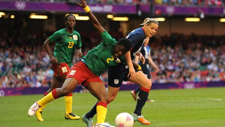 Great Britain's Kelly Smith (right) and Cameroon's Christine Manie battle for the ball during the Lo