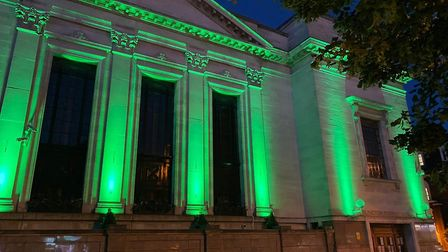 Islington Town Hall lit up green for the anniversary of the Grenfell Tower tragedy. Picture: Islingt