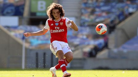 Arsenal's Matteo Guendouzi in action during the Premier League match at the Amex Stadium
