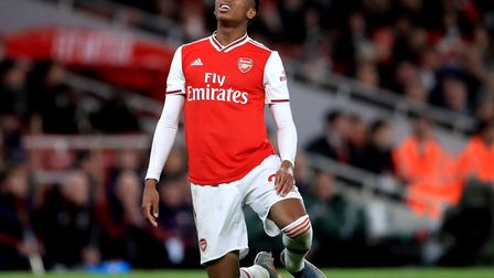 Arsenal's Joe Willock rues a missed chance during the Premier League match at the Emirates Stadium,