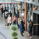 Crowds queue outside Nike as London Design Outlet in Wembley Park reopens. Picture: LDO
