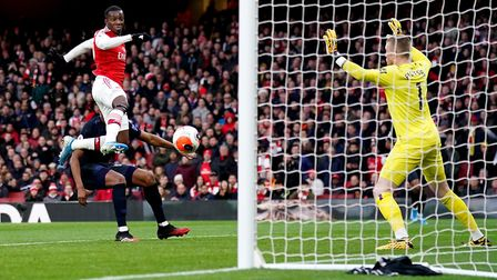 Arsenal's Eddie Nketiah scores his side's first goal of the game during the Premier League match at