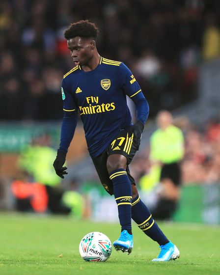 Arsenal's Bukayo Saka during the Carabao Cup, Fourth Round match at Anfield, Liverpool.