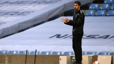 Arsenal manager Mikel Arteta gestures on the touchline during the Premier League match at the Etihad