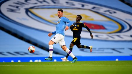 Manchester City's Aymeric Laporte during the Premier League match at the Etihad Stadium, Manchester.